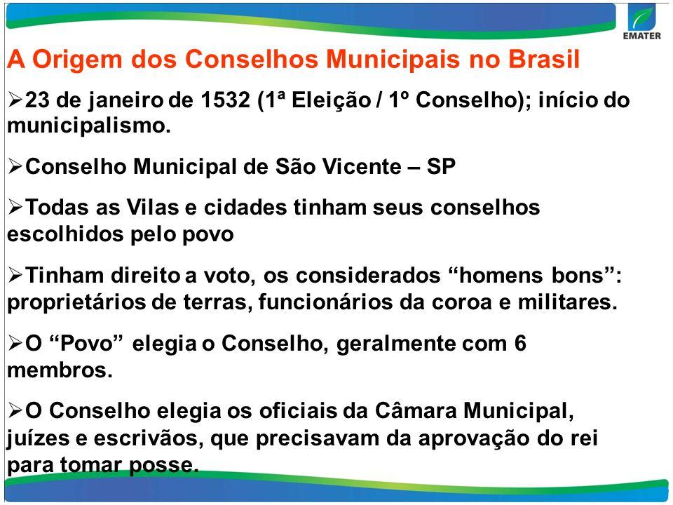 A Origem dos Conselhos Municipais no Brasil. 23 de janeiro de 1532 (1ª Eleição / 1º Conselho); início do municipalismo. Conselho Municipal de São Vice
