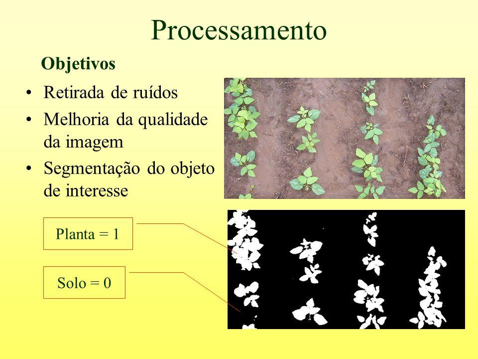 Processamento Retirada de ruídos Melhoria da qualidade da imagem Segmentação do objeto de interesse Planta = 1 Solo = 0 Objetivos
