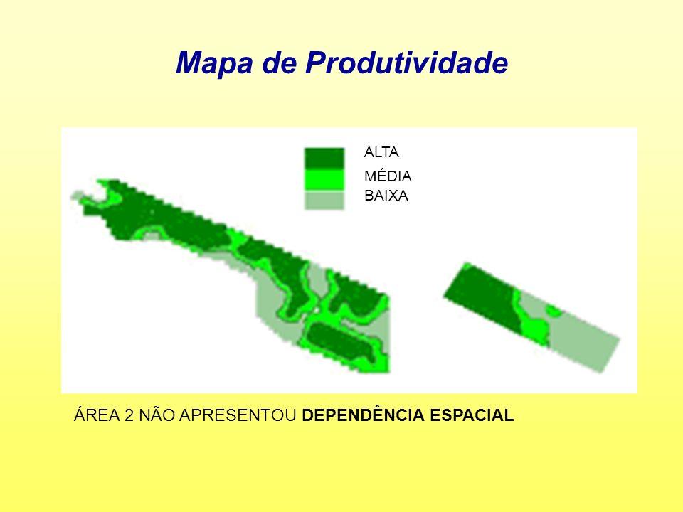 Mapa de Produtividade ALTA MÉDIA BAIXA ÁREA 2 NÃO APRESENTOU DEPENDÊNCIA ESPACIAL