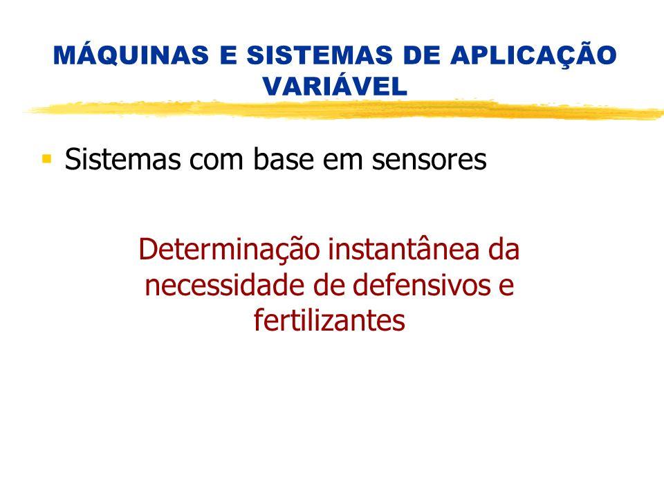 Determinação instantânea da necessidade de defensivos e fertilizantes MÁQUINAS E SISTEMAS DE APLICAÇÃO VARIÁVEL Sistemas com base em sensores