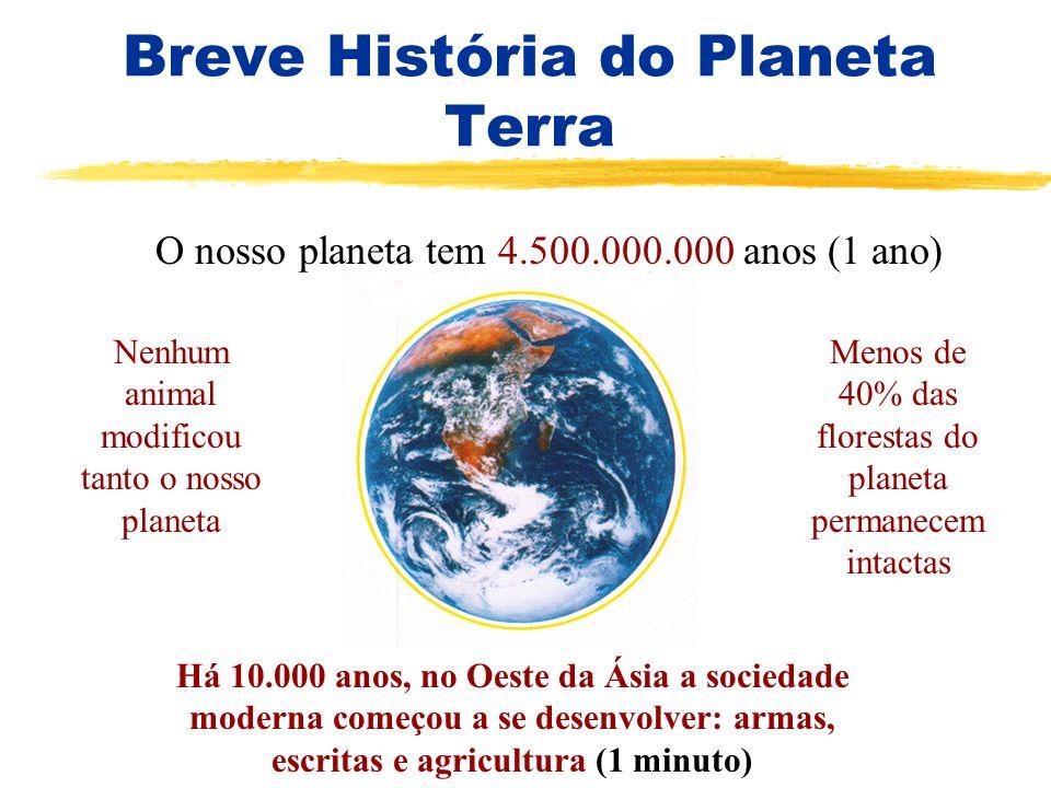 Breve História do Planeta Terra O nosso planeta tem 4.500.000.000 anos Nenhum animal modificou tanto o nosso planeta Menos de 40% das florestas do pla