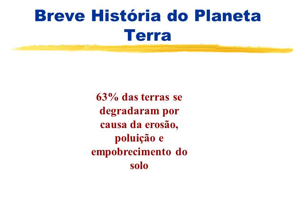 Breve História do Planeta Terra 63% das terras se degradaram por causa da erosão, poluição e empobrecimento do solo
