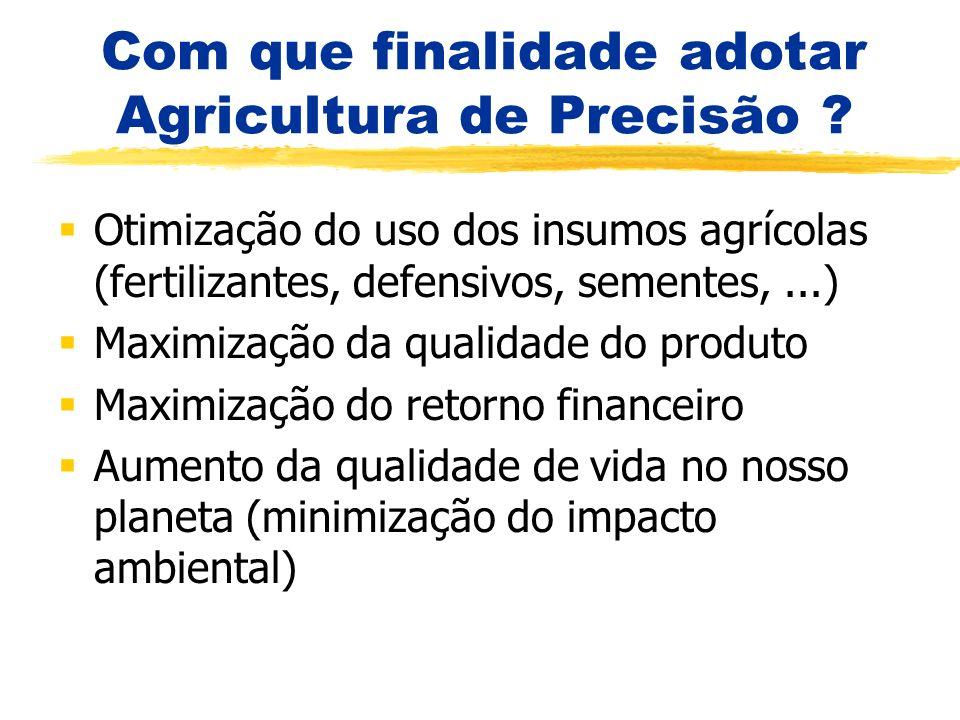 Com que finalidade adotar Agricultura de Precisão ? Otimização do uso dos insumos agrícolas (fertilizantes, defensivos, sementes,...) Maximização da q
