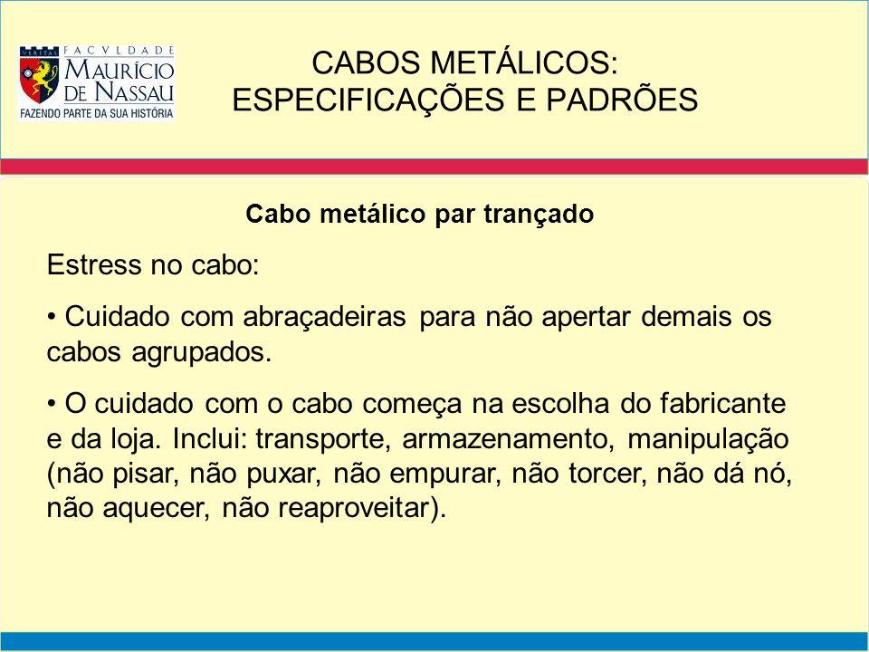 Cabo metálico par trançado Estress no cabo: Cuidado com abraçadeiras para não apertar demais os cabos agrupados. O cuidado com o cabo começa na escolh