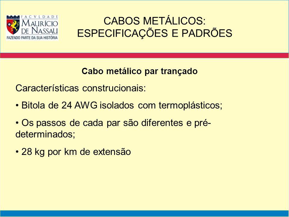 Cabo metálico par trançado Características construcionais: Bitola de 24 AWG isolados com termoplásticos; Os passos de cada par são diferentes e pré- d