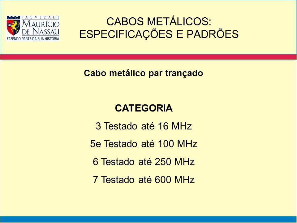 Cabo metálico par trançado CATEGORIA 3 Testado até 16 MHz 5e Testado até 100 MHz 6 Testado até 250 MHz 7 Testado até 600 MHz CABOS METÁLICOS: ESPECIFI