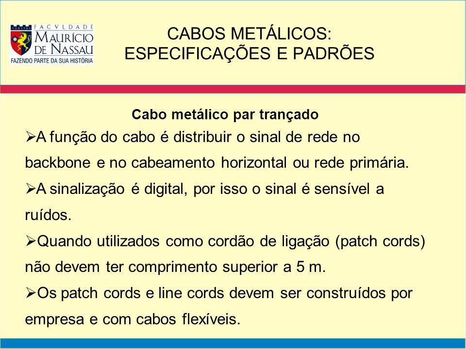 Cabo metálico par trançado Estress no cabo: É o tratamento inadequado no cabo par trançado.