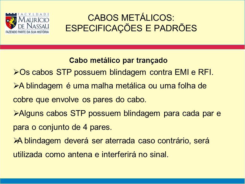 Cabo metálico par trançado Os cabos STP possuem blindagem contra EMI e RFI. A blindagem é uma malha metálica ou uma folha de cobre que envolve os pare