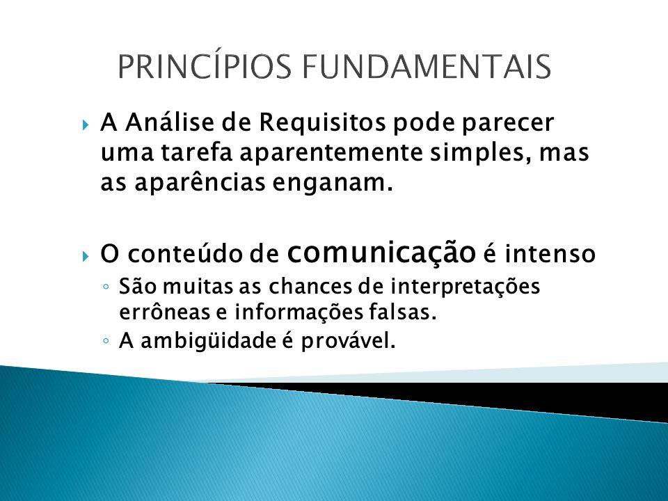 PRINCÍPIOS FUNDAMENTAIS A Análise de Requisitos pode parecer uma tarefa aparentemente simples, mas as aparências enganam.