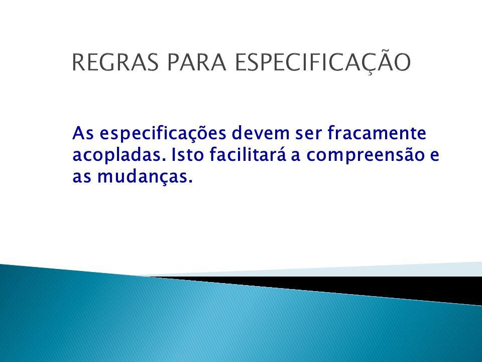 REGRAS PARA ESPECIFICAÇÃO As especificações devem ser fracamente acopladas.