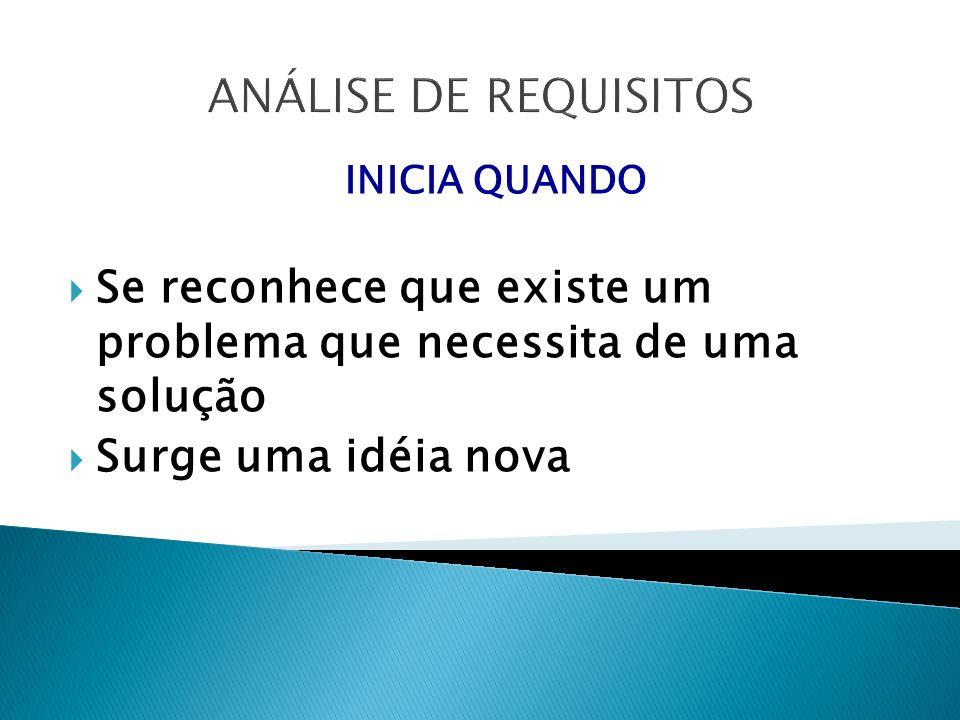 ANÁLISE DE REQUISITOS INICIA QUANDO Se reconhece que existe um problema que necessita de uma solução Surge uma idéia nova