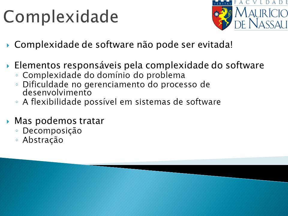 Complexidade Complexidade de software não pode ser evitada! Elementos responsáveis pela complexidade do software Complexidade do domínio do problema D