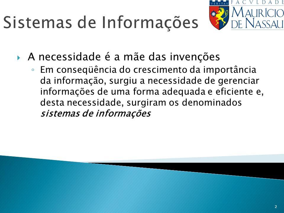 2 Sistemas de Informações A necessidade é a mãe das invenções Em conseqüência do crescimento da importância da informação, surgiu a necessidade de ger