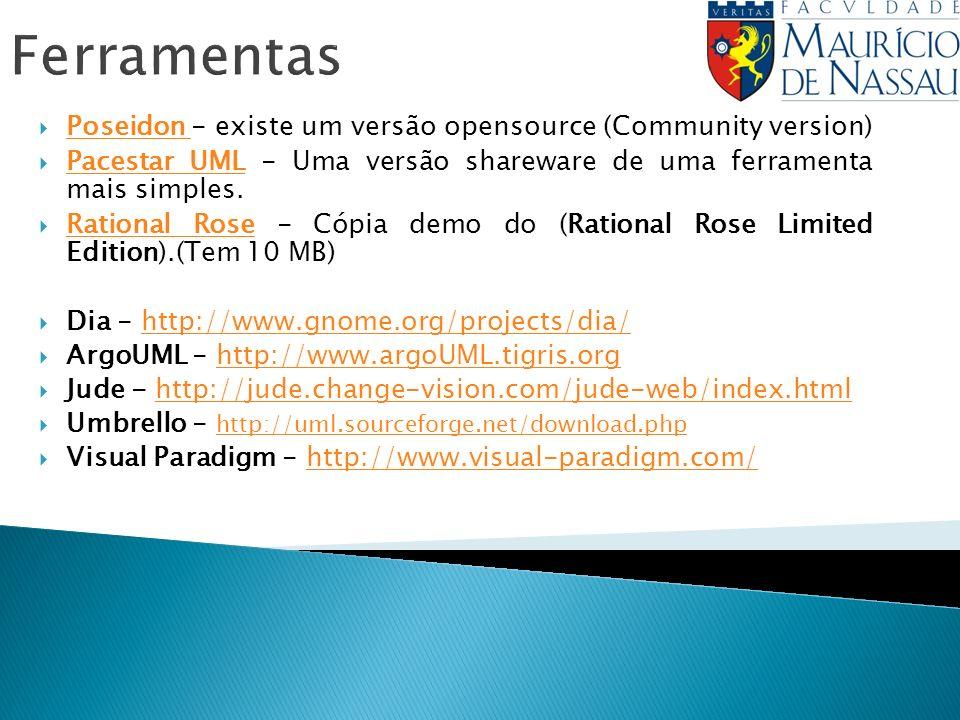 Ferramentas Poseidon - existe um versão opensource (Community version) Poseidon Pacestar UML - Uma versão shareware de uma ferramenta mais simples. Pa