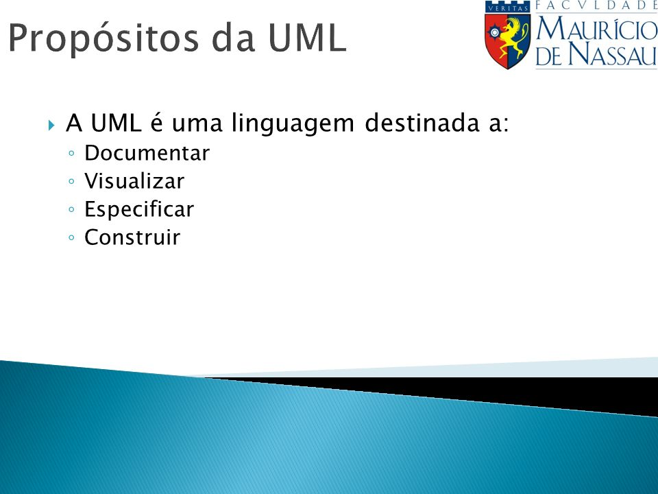 Propósitos da UML A UML é uma linguagem destinada a: Documentar Visualizar Especificar Construir