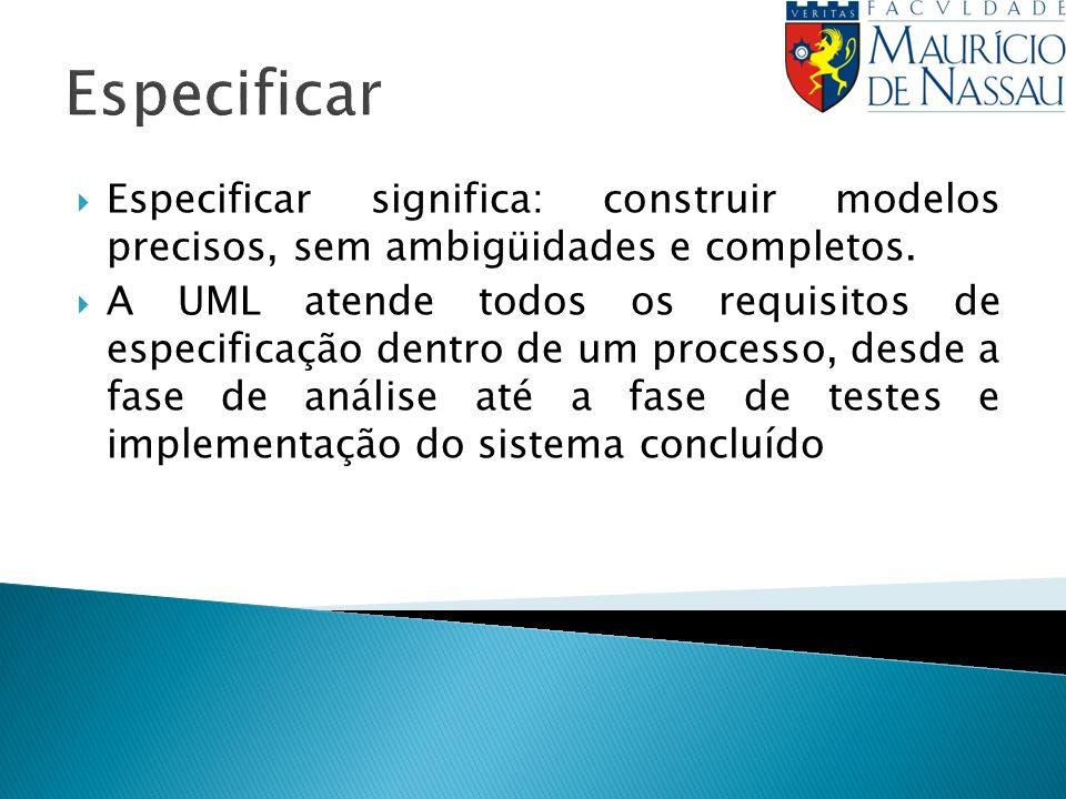 Especificar Especificar significa: construir modelos precisos, sem ambigüidades e completos. A UML atende todos os requisitos de especificação dentro