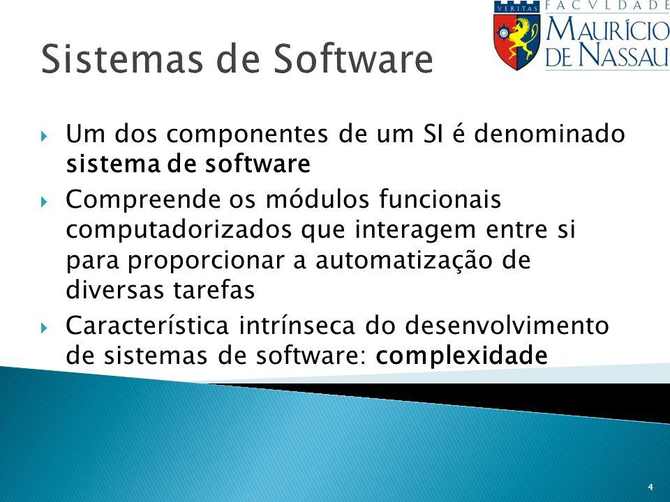 4 Sistemas de Software Um dos componentes de um SI é denominado sistema de software Compreende os módulos funcionais computadorizados que interagem en