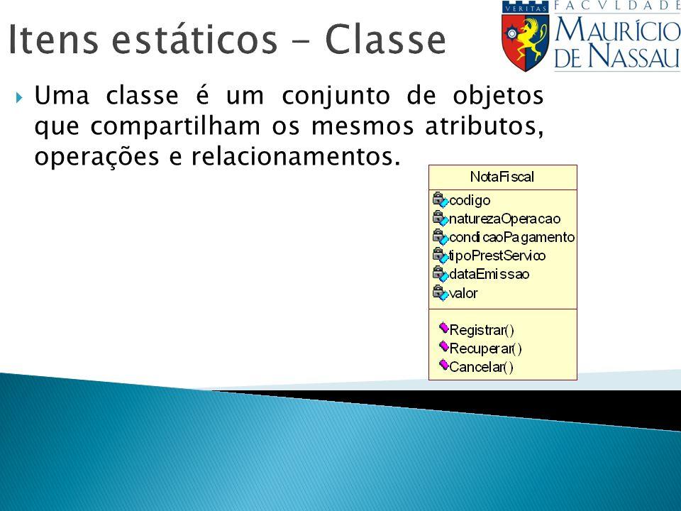 Itens estáticos - Classe Uma classe é um conjunto de objetos que compartilham os mesmos atributos, operações e relacionamentos.