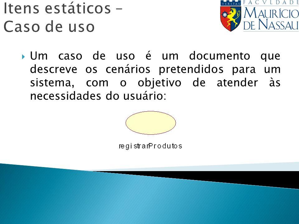 Itens estáticos – Caso de uso Um caso de uso é um documento que descreve os cenários pretendidos para um sistema, com o objetivo de atender às necessi