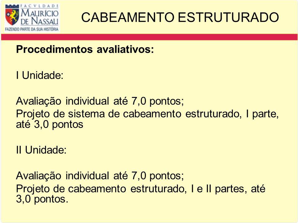 CABEAMENTO ESTRUTURADO Procedimentos avaliativos: I Unidade: Avaliação individual até 7,0 pontos; Projeto de sistema de cabeamento estruturado, I parte, até 3,0 pontos II Unidade: Avaliação individual até 7,0 pontos; Projeto de cabeamento estruturado, I e II partes, até 3,0 pontos.