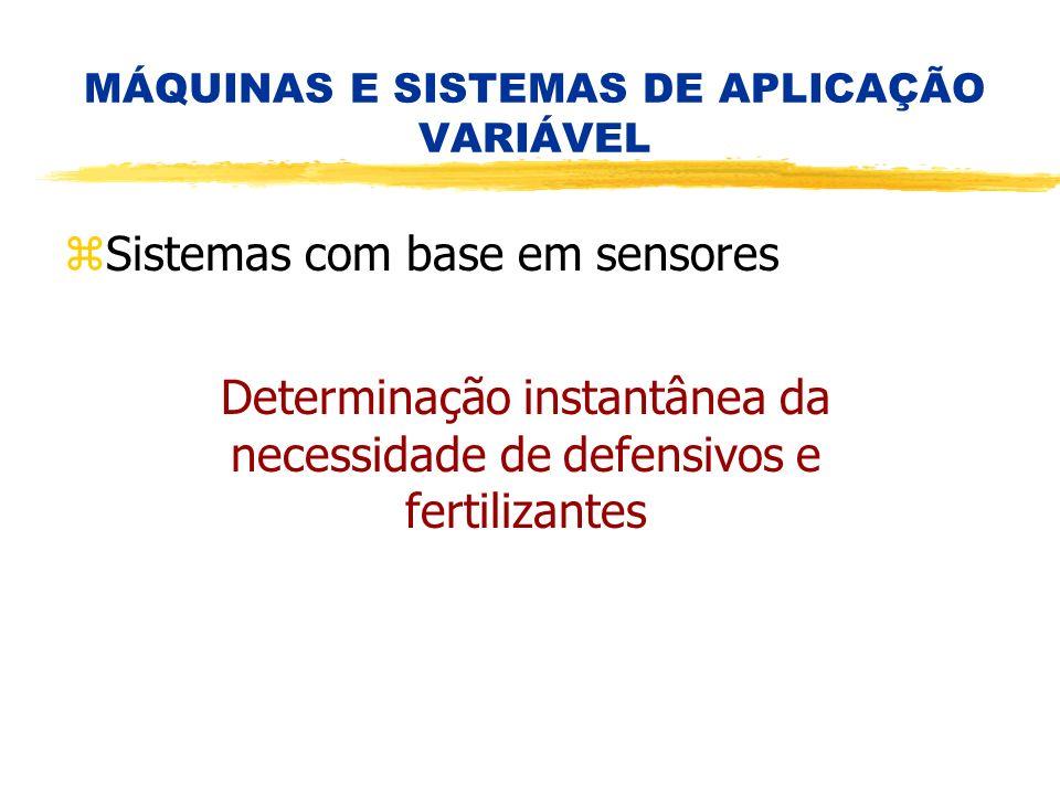 Determinação instantânea da necessidade de defensivos e fertilizantes MÁQUINAS E SISTEMAS DE APLICAÇÃO VARIÁVEL zSistemas com base em sensores