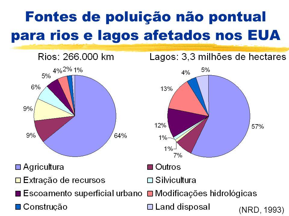 Fontes de poluição não pontual para rios e lagos afetados nos EUA (NRD, 1993)