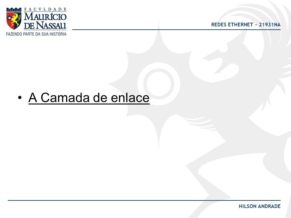 REDES ETHERNET – 21931NA HILSON ANDRADE A Camada de enlace