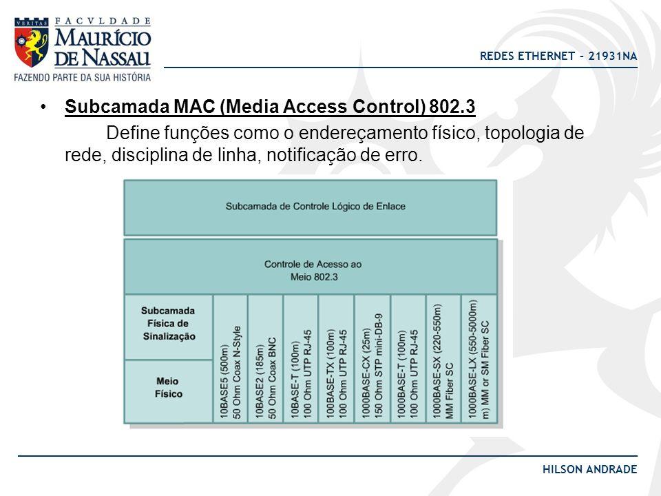 REDES ETHERNET – 21931NA HILSON ANDRADE Subcamada MAC (Media Access Control) 802.3 Define funções como o endereçamento físico, topologia de rede, disc