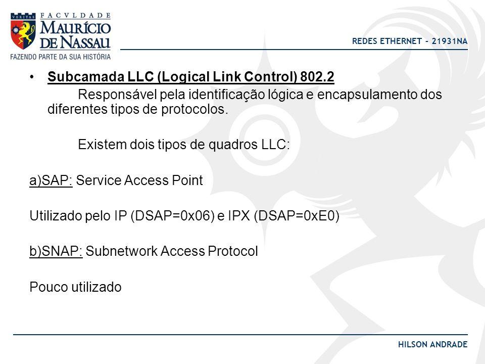 REDES ETHERNET – 21931NA HILSON ANDRADE Subcamada LLC (Logical Link Control) 802.2 Responsável pela identificação lógica e encapsulamento dos diferent