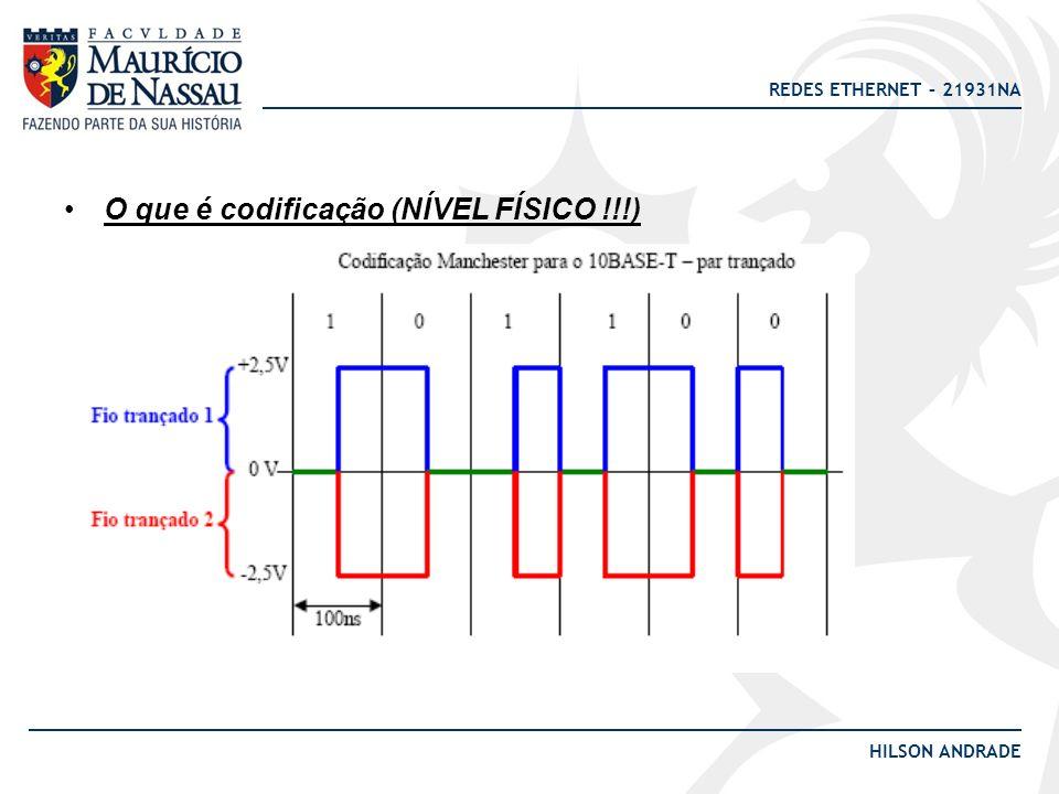 REDES ETHERNET – 21931NA HILSON ANDRADE O que é codificação (NÍVEL FÍSICO !!!)