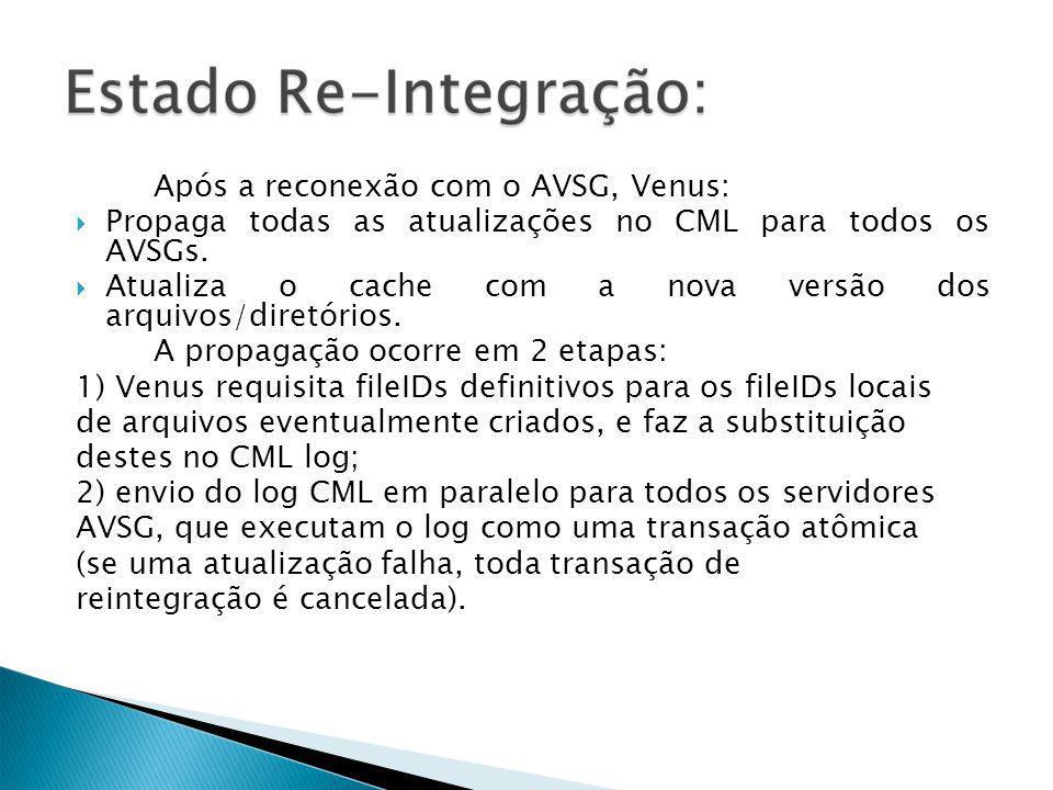 Após a reconexão com o AVSG, Venus: Propaga todas as atualizações no CML para todos os AVSGs.