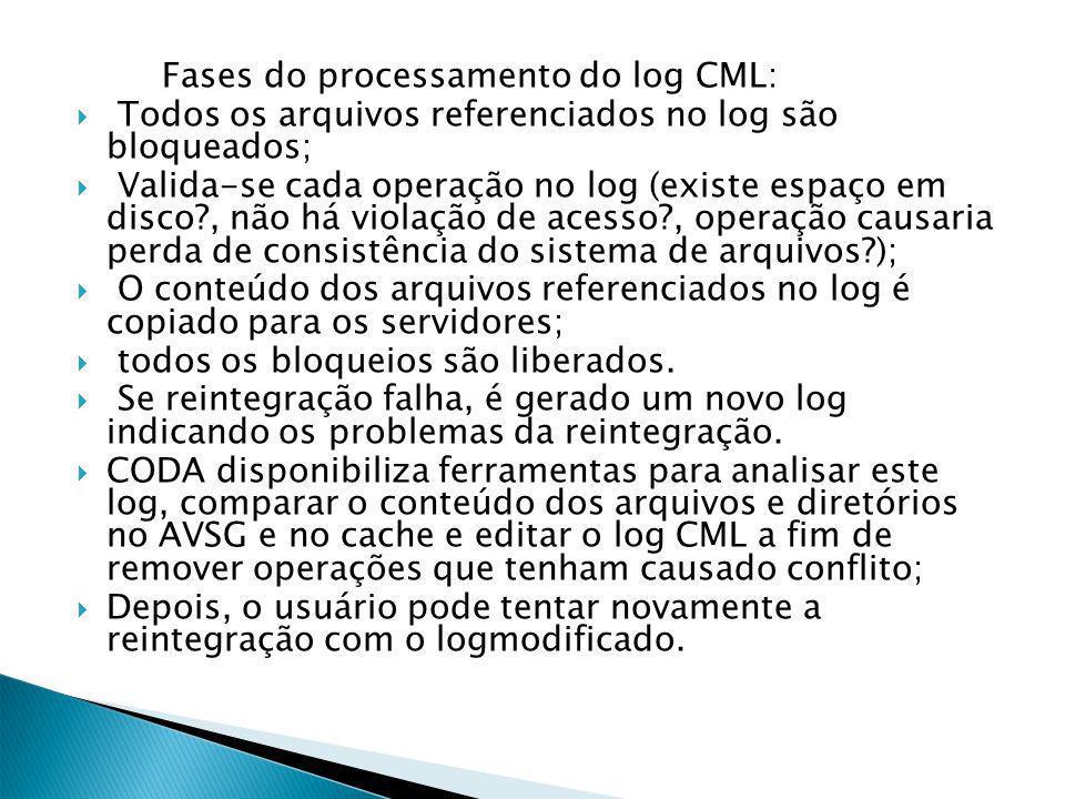 Fases do processamento do log CML: Todos os arquivos referenciados no log são bloqueados; Valida-se cada operação no log (existe espaço em disco , não há violação de acesso , operação causaria perda de consistência do sistema de arquivos ); O conteúdo dos arquivos referenciados no log é copiado para os servidores; todos os bloqueios são liberados.