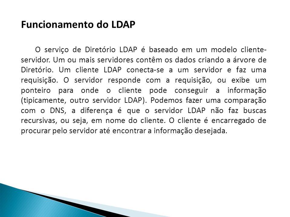 Funcionamento do LDAP O serviço de Diretório LDAP é baseado em um modelo cliente- servidor.