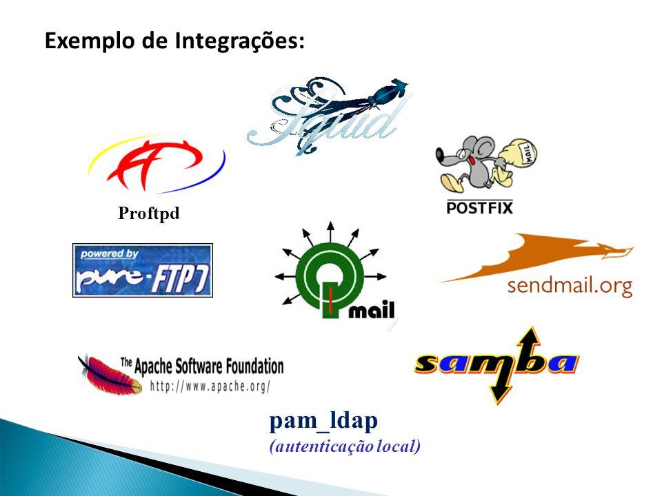 pam_ldap (autenticação local) Proftpd Exemplo de Integrações:
