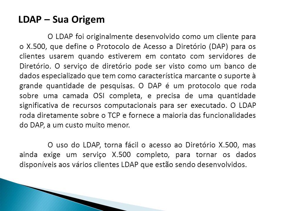 O LDAP foi originalmente desenvolvido como um cliente para o X.500, que define o Protocolo de Acesso a Diretório (DAP) para os clientes usarem quando estiverem em contato com servidores de Diretório.