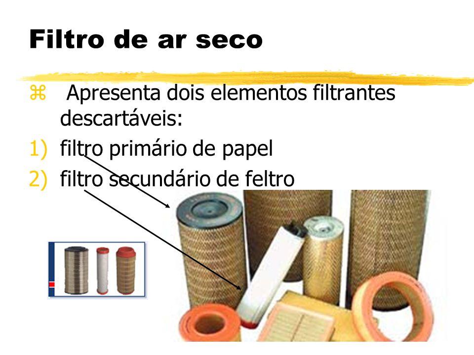 Filtro de ar seco z Apresenta dois elementos filtrantes descartáveis: 1)filtro primário de papel 2)filtro secundário de feltro