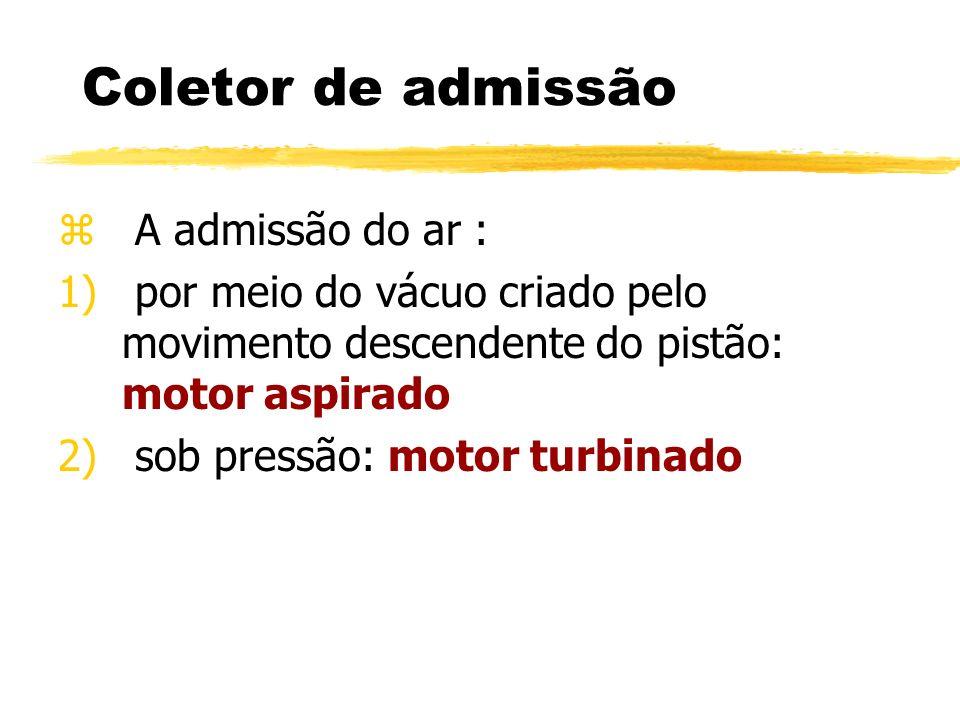 Coletor de admissão z A admissão do ar : 1) por meio do vácuo criado pelo movimento descendente do pistão: motor aspirado 2) sob pressão: motor turbin