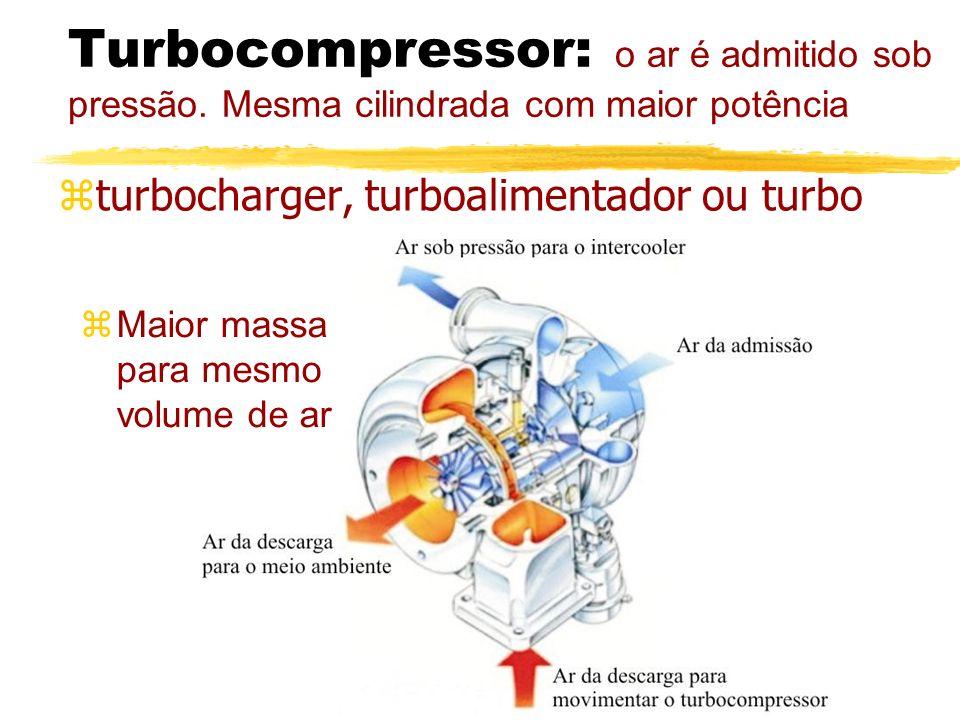 Turbocompressor: o ar é admitido sob pressão. Mesma cilindrada com maior potência zturbocharger, turboalimentador ou turbo zMaior massa para mesmo vol
