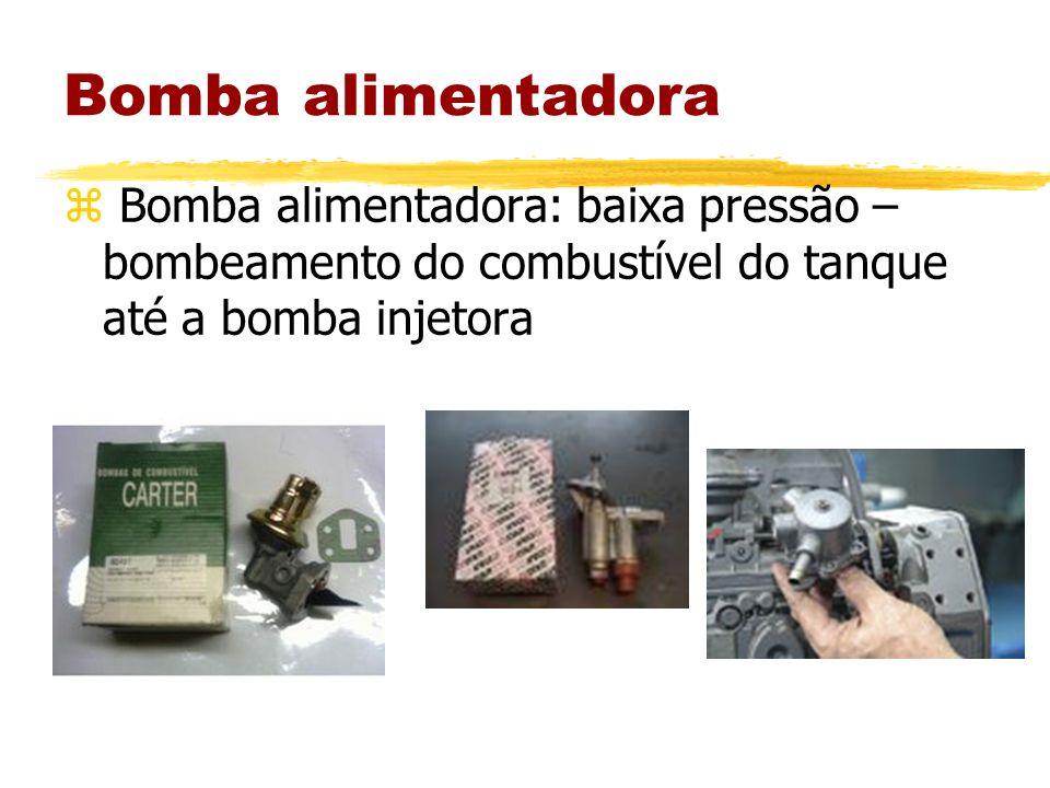Bomba alimentadora z Bomba alimentadora: baixa pressão – bombeamento do combustível do tanque até a bomba injetora