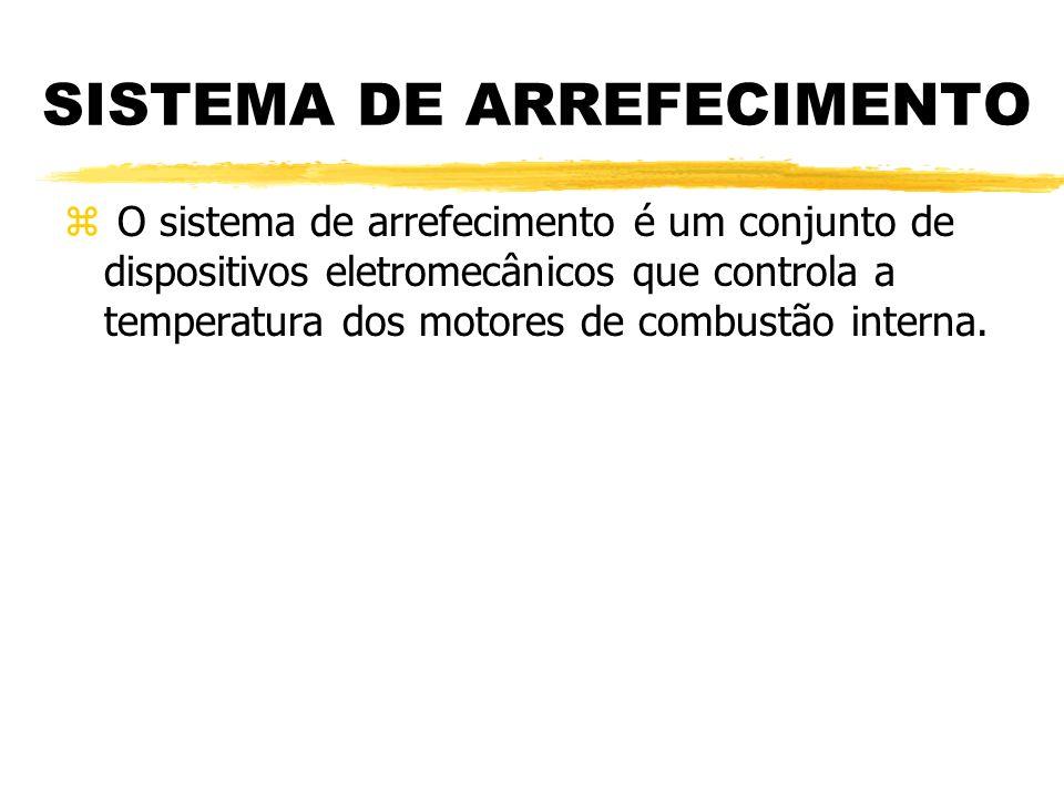 SISTEMA DE ARREFECIMENTO z O sistema de arrefecimento é um conjunto de dispositivos eletromecânicos que controla a temperatura dos motores de combustã