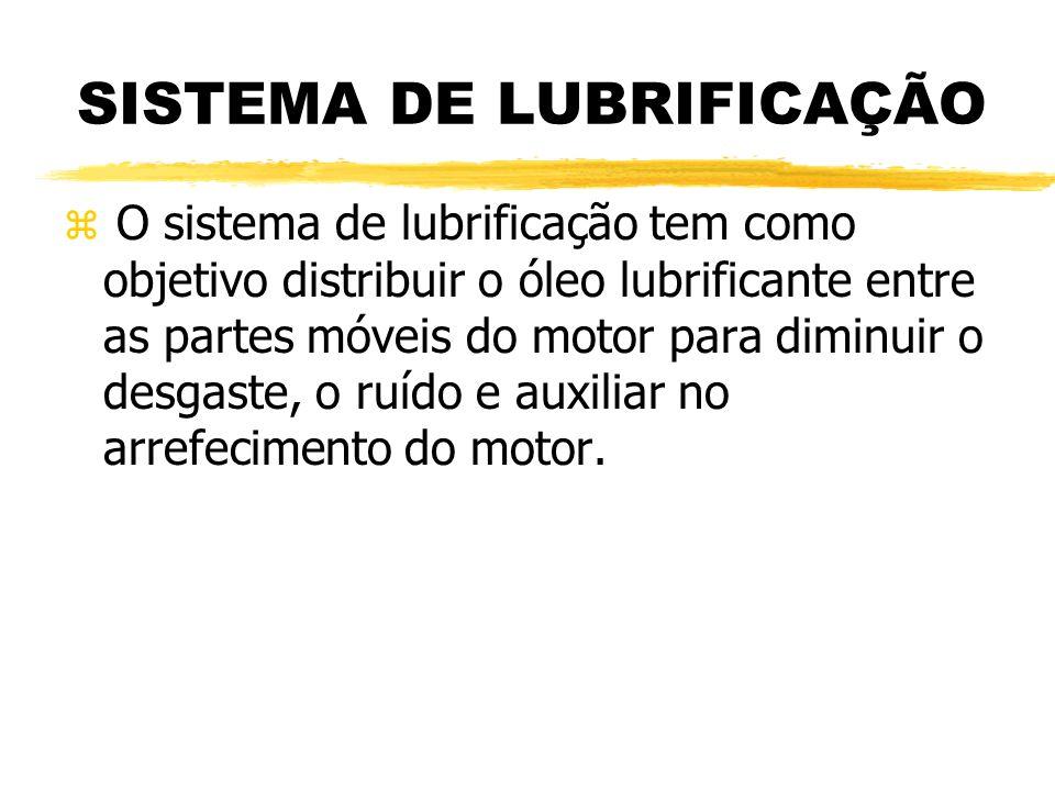 SISTEMA DE LUBRIFICAÇÃO z O sistema de lubrificação tem como objetivo distribuir o óleo lubrificante entre as partes móveis do motor para diminuir o d