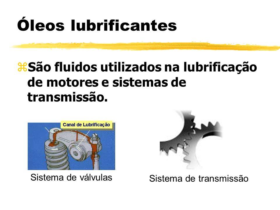 Óleos lubrificantes zSão fluidos utilizados na lubrificação de motores e sistemas de transmissão. Sistema de válvulas Sistema de transmissão