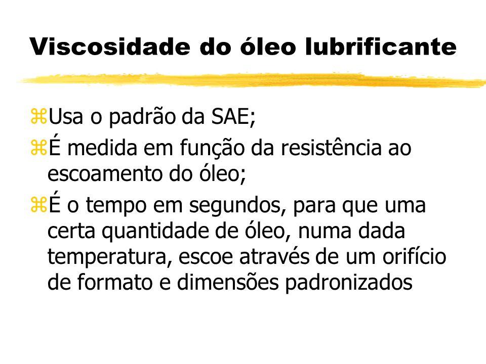 Viscosidade do óleo lubrificante zUsa o padrão da SAE; zÉ medida em função da resistência ao escoamento do óleo; zÉ o tempo em segundos, para que uma