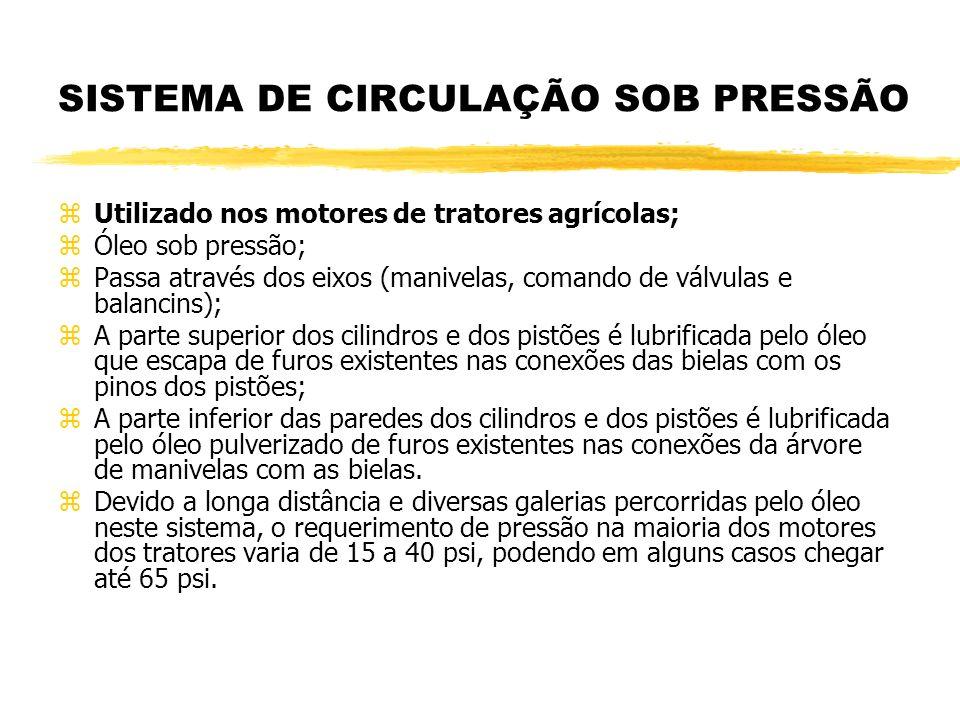 SISTEMA DE CIRCULAÇÃO SOB PRESSÃO zUtilizado nos motores de tratores agrícolas; zÓleo sob pressão; zPassa através dos eixos (manivelas, comando de vál