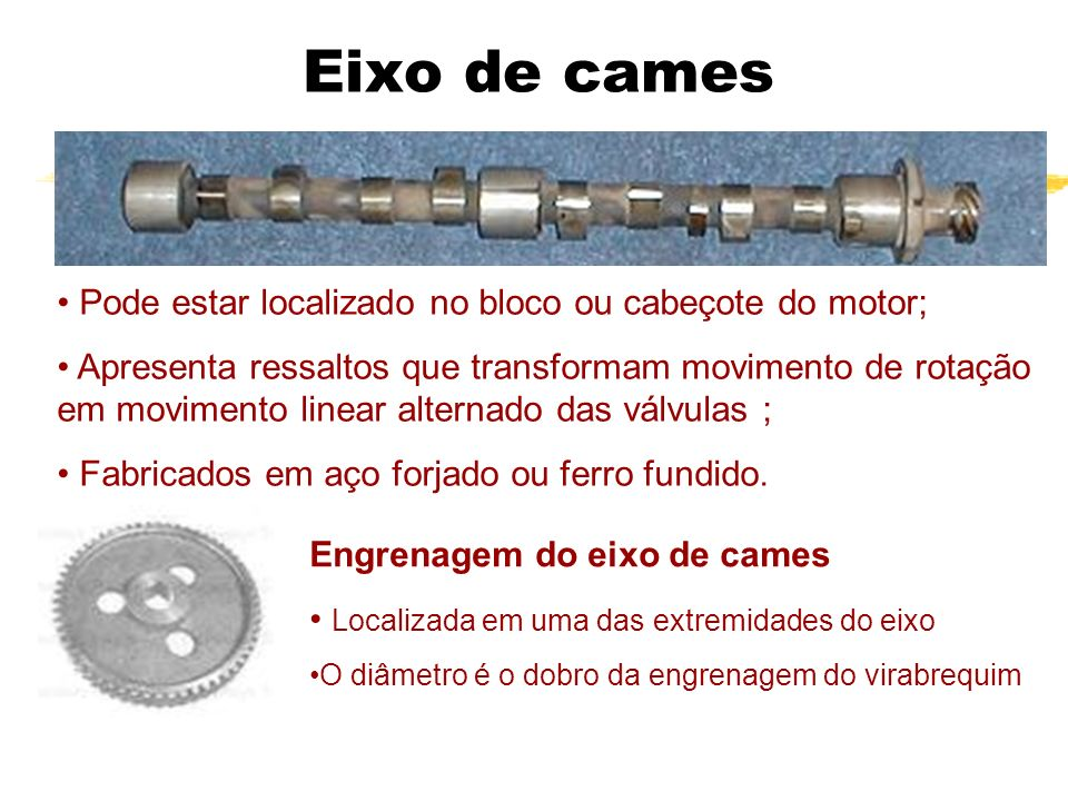 Eixo de cames Engrenagem do eixo de cames Localizada em uma das extremidades do eixo O diâmetro é o dobro da engrenagem do virabrequim Pode estar loca