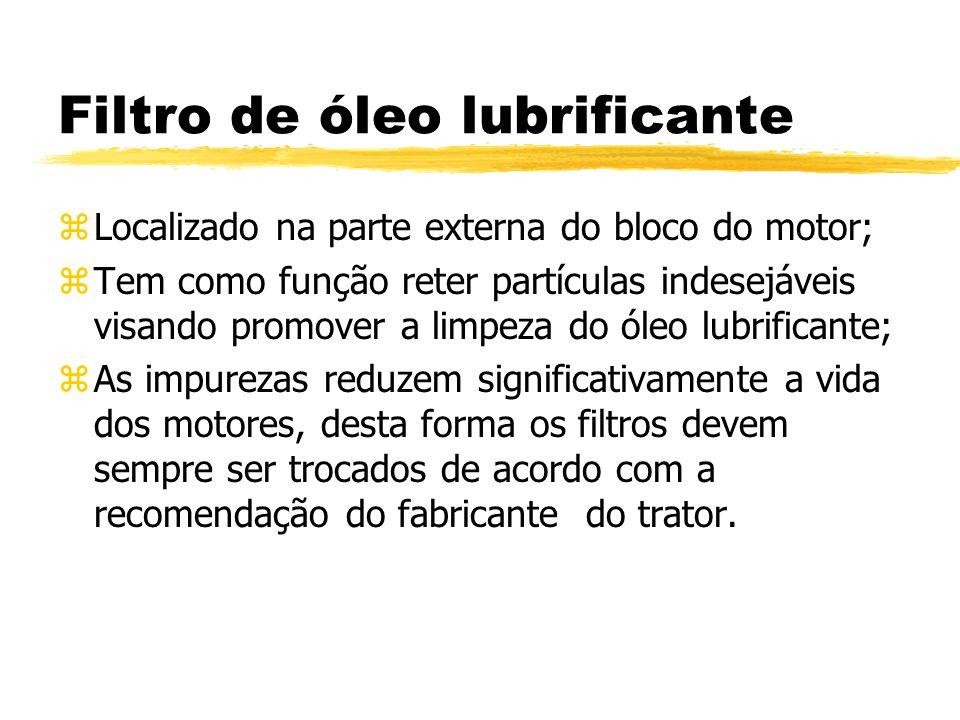 Filtro de óleo lubrificante zLocalizado na parte externa do bloco do motor; zTem como função reter partículas indesejáveis visando promover a limpeza