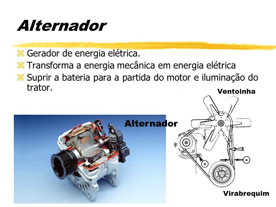 Alternador zGerador de energia elétrica. zTransforma a energia mecânica em energia elétrica zSuprir a bateria para a partida do motor e iluminação do