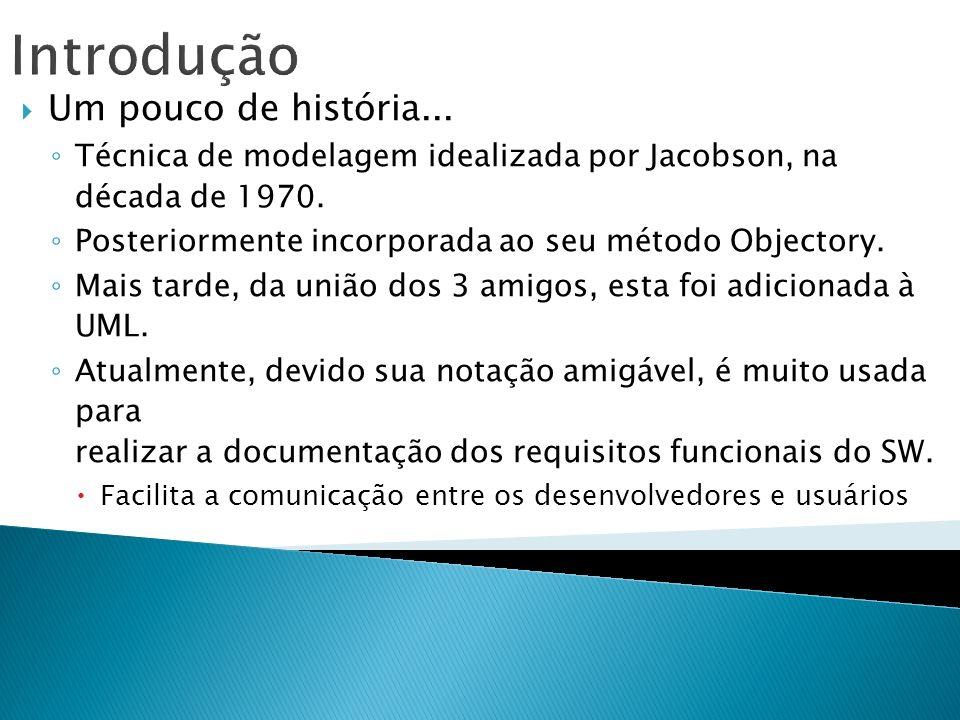 Introdução Um pouco de história... Técnica de modelagem idealizada por Jacobson, na década de 1970. Posteriormente incorporada ao seu método Objectory