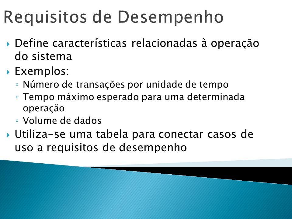 Requisitos de Desempenho Define características relacionadas à operação do sistema Exemplos: Número de transações por unidade de tempo Tempo máximo es