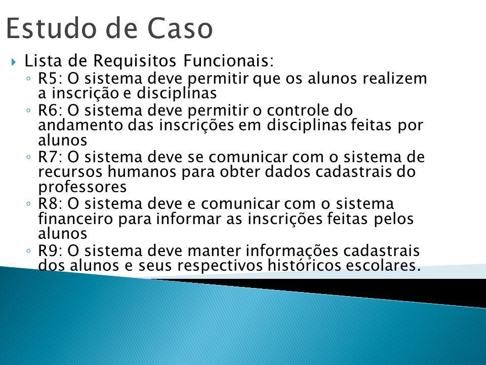 Estudo de Caso Lista de Requisitos Funcionais: R5: O sistema deve permitir que os alunos realizem a inscrição e disciplinas R6: O sistema deve permiti